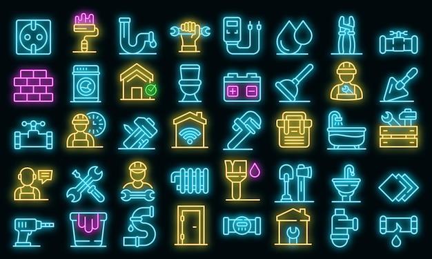 Reparateur pictogrammen instellen. overzicht set van reparateur vector iconen neon kleur op zwart