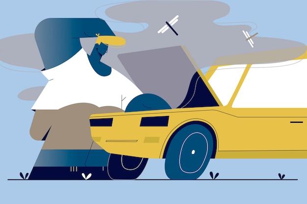 Reparatie, crash, controle, mentale stress, frustratie concept. jonge man kerel monteur staat in de buurt van auto na ongeval op zoek onder geopende motorkap met rook. wegonderhoud transport voertuig illustratie.