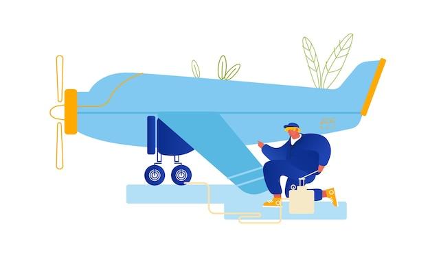 Reparatie en onderhoud van vliegtuigconcept.