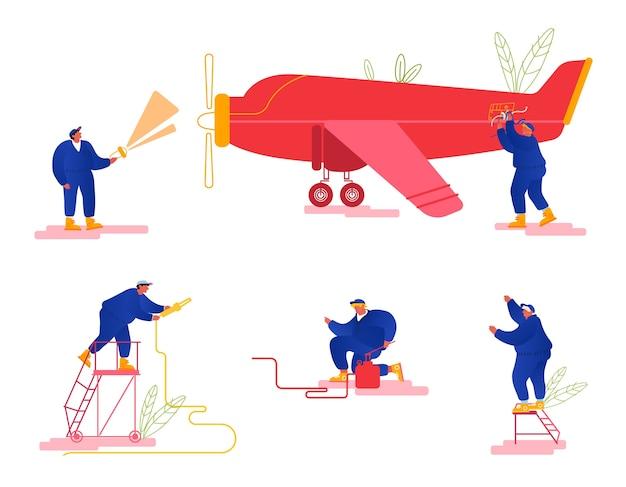 Reparatie en onderhoud van vliegtuigenset.