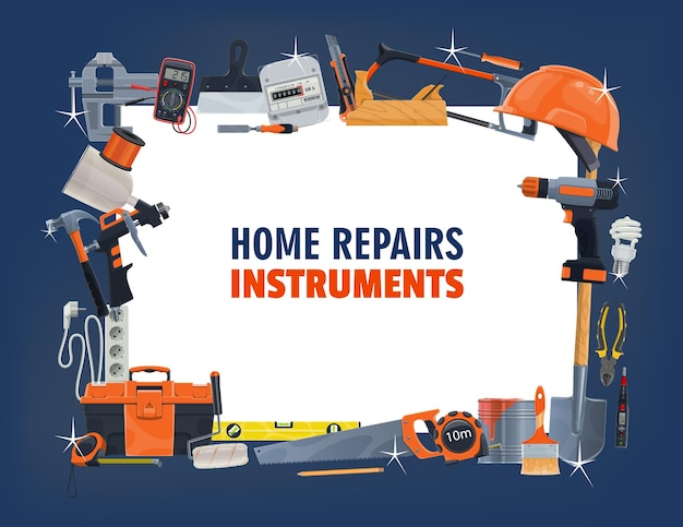 Reparatie gereedschapskader van woningbouw, timmerwerk, schilderen, doe-het-zelf, renovatie en elektrische apparatuur