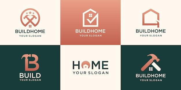Reparatie huis logo set, creatieve huis logo collectie gecombineerd hamer element, abstracte gebouwen.