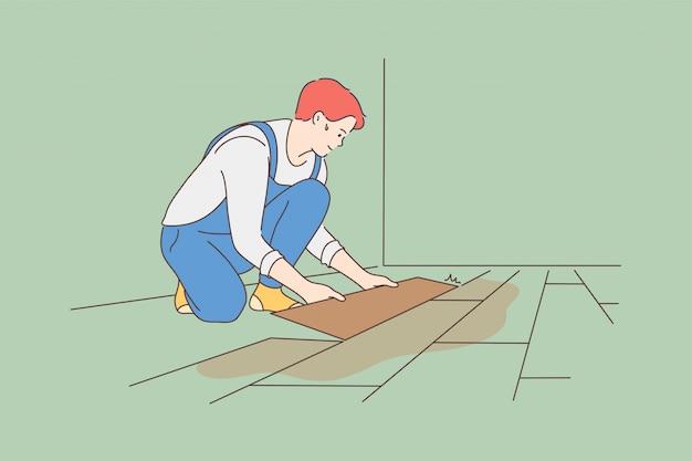 Reparatie installatie renovatie timmerwerk werk baan concept