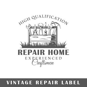Reparatie label geïsoleerd op een witte achtergrond