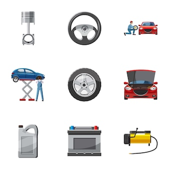 Reparatie machine iconen set, cartoon stijl
