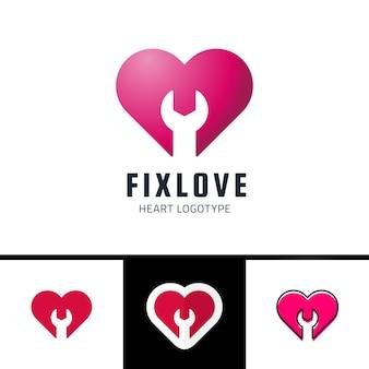 Reparatie of repareer love heart vector logo design element