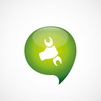 Reparatie pictogram groen denk zeepbel symbool logo, geïsoleerd op een witte achtergrond