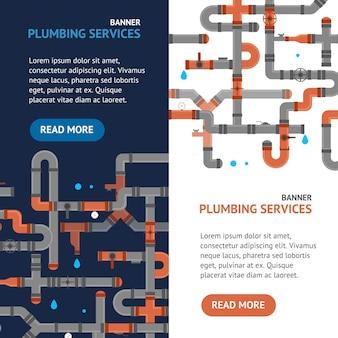 Reparatie sanitair service banner set professional engineering concept voor webinstallatie van buizen. vector illustratie