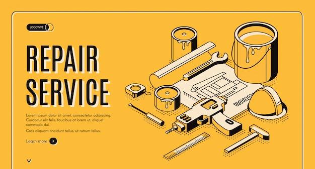 Reparatie service isometrische banner