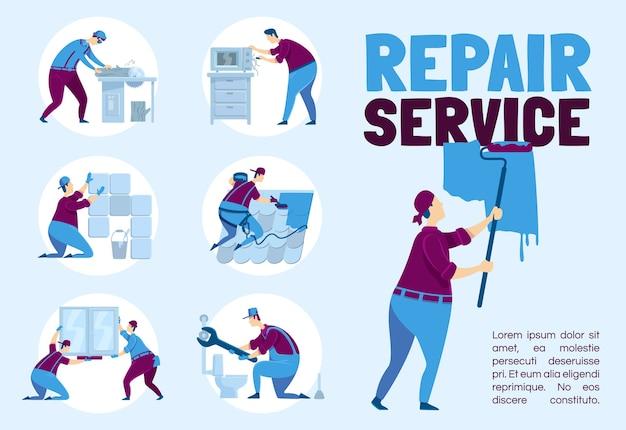 Reparatie service poster platte sjabloon. loodgieter met moersleutel. timmerman met kofferbak. brochure, boekje conceptontwerp van één pagina met stripfiguren. professionele kluswerker flyer, folder