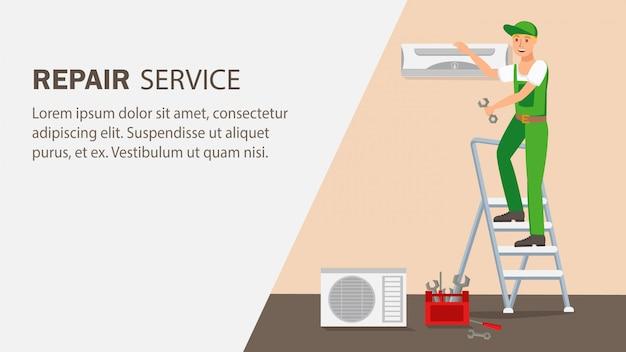 Reparatie service website banner vector sjabloon.