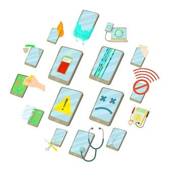 Reparatie telefoons repareren iconen set, cartoon stijl