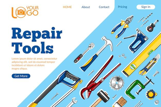Reparatie tools bestemmingspagina-indeling