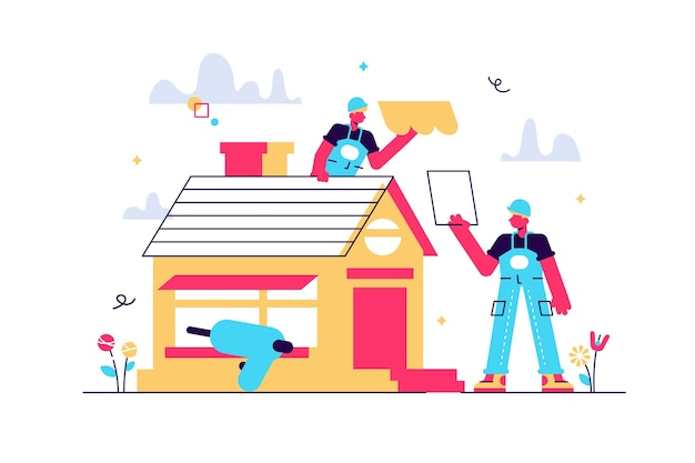 Reparatie van gebouwen. renovatie van de woning en dakreconstructie