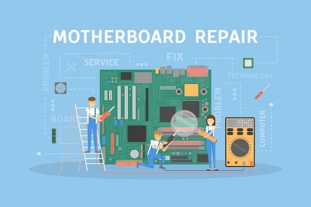 Reparatie van het moederbord.