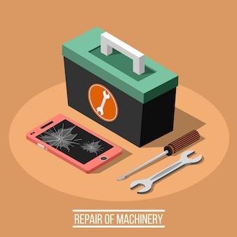 Reparatie van machinaal isometrisch ontwerpconcept