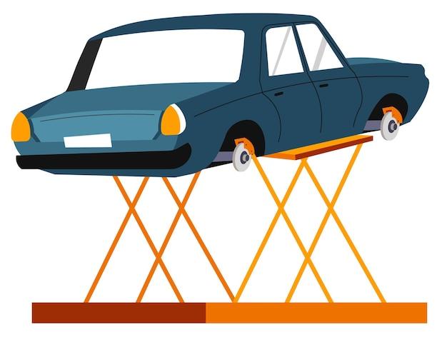 Reparatie van voertuig- en auto-onderhoud, geïsoleerde auto op hoge metalen lifter. controle of diagnostiek van auto. transportproblemen oplossen en oplossen. tuning diensten. vector in vlakke stijl