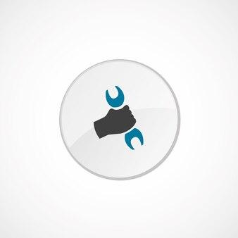 Reparatiepictogram 2 gekleurd, grijs en blauw, cirkelbadge