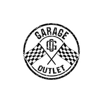Reparatiewerkplaats of werkplaatslogo met letter g en o-logo