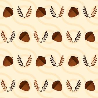 Repeat-less eikel en bladeren versierd op golvende patroon achtergrond.