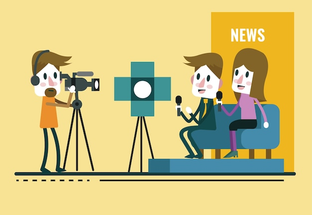 Reporter interview, met journalist en interviewer in de studio. vlakke karakter ontwerp. vector illustratie cartoon.