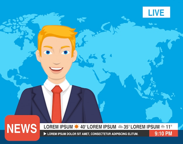 Reporter is werk op de televisie