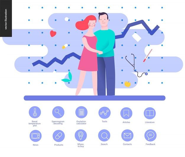 Reproductie - een vectorillustratie en een reeks geschetste pictogrammen