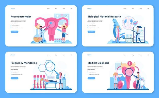 Reproductoloog en reproductieve gezondheid webbanner of bestemmingspagina-set