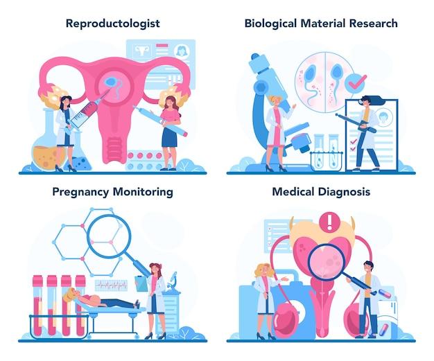 Reproductoloog en reproductieve gezondheidsset.