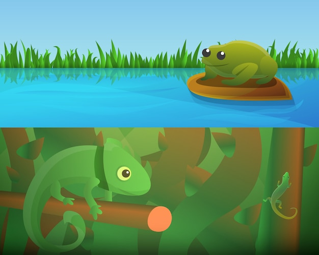 Reptielen amfibieën illustratie ingesteld op cartoon stijl