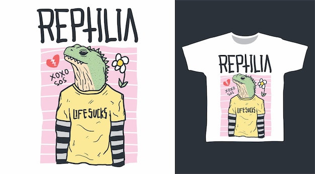 Reptielenhoofd met menselijk lichaamkrabbel voor t-shirtontwerp