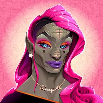 Reptilian drag queen genaamd dragah