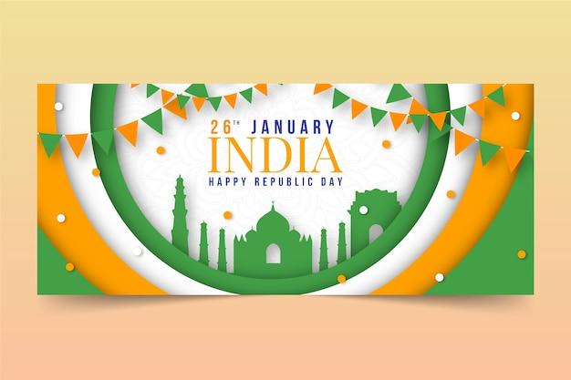 Republiek dag banner in papieren stijl