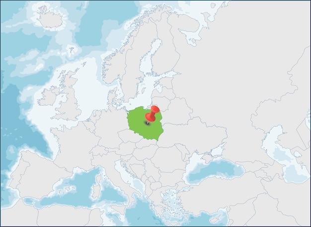 Republiek polen locatie op de kaart van europa