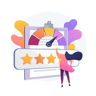 Reputatie management. gebruikersfeedback, klantloyaliteit, klanttevredenheidsmeter. positieve beoordeling, bedrijfsvertrouwen, vijfsterren kwaliteitsbeoordelingssysteem.