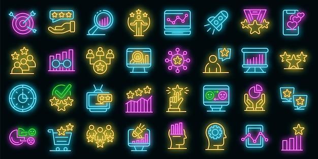 Reputatie pictogrammen instellen. overzicht set reputatie vector iconen neon kleur op zwart