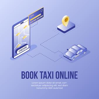 Reserveer een taxi online. digitaal isometrisch ontwerpconcept