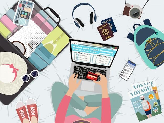 Reservering en vlucht online voor vakantietijd.