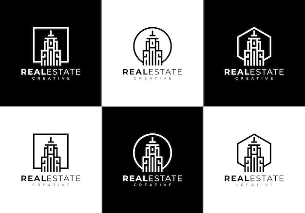 Residentieel gebouw set collectie logo sjabloon