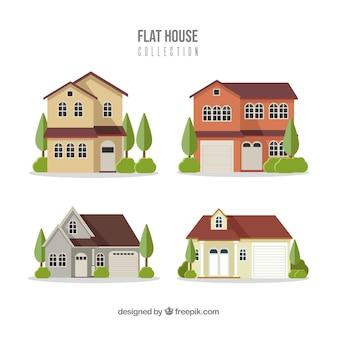 Residentiële huizencollectie in vlakke stijl