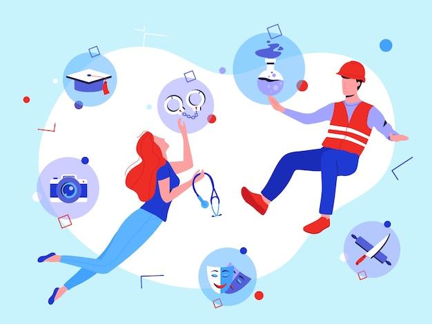 Reskilling concept: jonge man en vrouw met nieuwe carrièremogelijkheden. man en vrouw kiezen voor een nieuw beroep om te leren tussen bouw, geneeskunde, theater, koken, politie, wetenschap, fotografie.