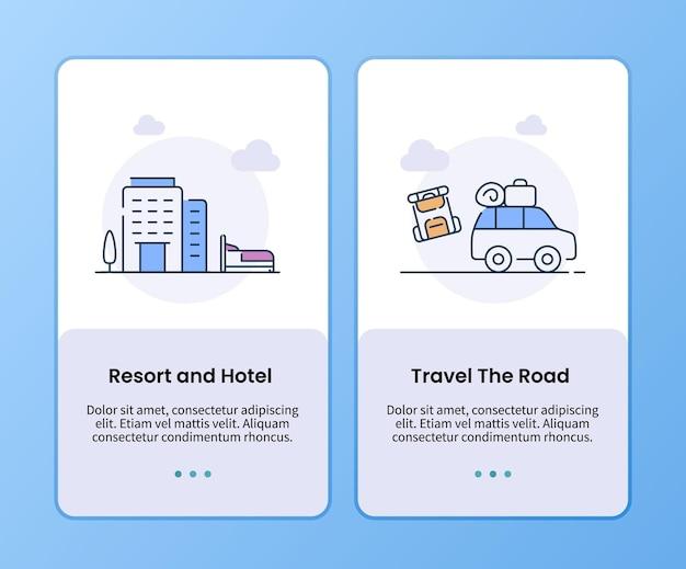 Resort en hotel reizen de weg campagne voor instapsjabloon