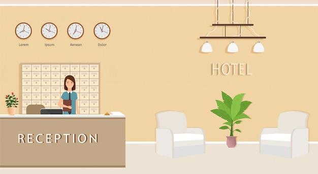 Resort hal interieur met vrouw receptioniste. receptiebalie van het hotel met medewerker en twee fauteuils.