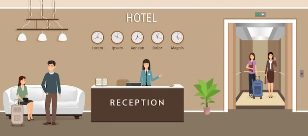 Resort hal interieur met vrouw werknemer, gasten en lift.