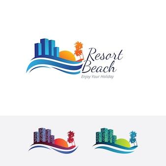 Resort strand vector logo sjabloon
