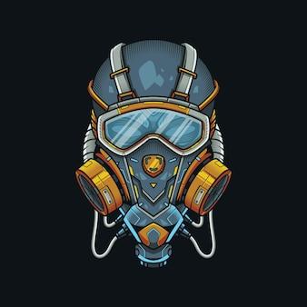 Respirator schedel donkere mecha illustratie