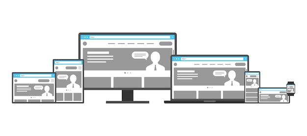 Responsief adaptief webdesign website geopend op apparaten computer pc monitor tablet smartphone