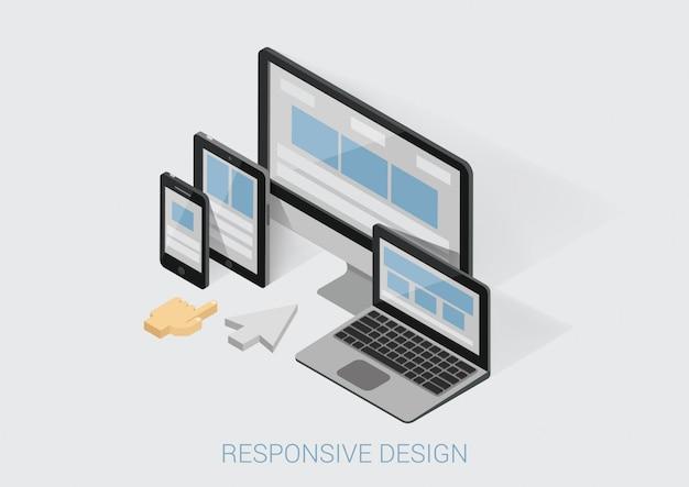Responsief webontwerp plat isometrisch concept webdesign website-interface op verschillende apparaatschermen