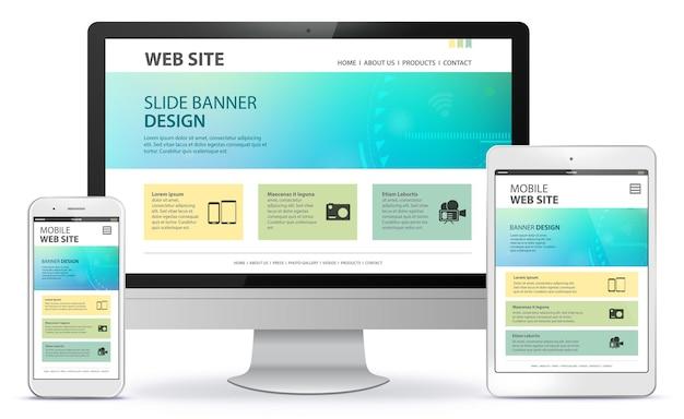 Responsief websiteontwerp met desktopcomputerscherm, mobiele telefoon en tablet-pc-illustratie