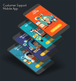 Responsieve klantenservice ui mobiele app splash screens-sjabloon met trendy illustraties
